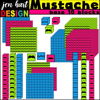 Base Ten Blocks Clipart {Mustaches}