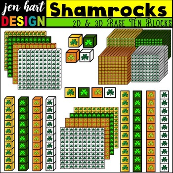 Base Ten Blocks Clipart {Shamrocks}