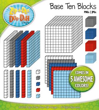 Base Ten Blocks Cube Clip Art Set 10 — Over 25 Rainbow Col