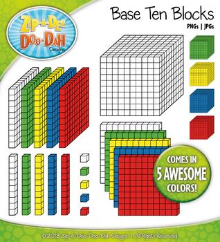 Base Ten Blocks Cube Clip Art Set 3 — Over 25 Rainbow Colo