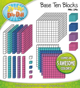 Base Ten Blocks Cube Clip Art Set 4 — Over 25 Rainbow Colo