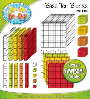 Base Ten Blocks Cube Clip Art Set 6 — Over 25 Rainbow Colo