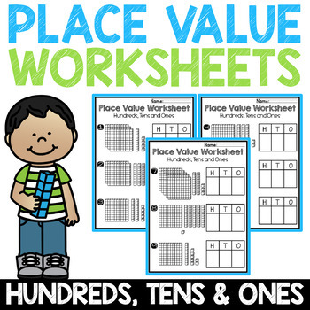 Base Ten Blocks & Place Value Chart Fill-In - Ones, Tens,