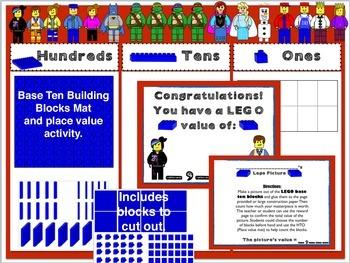 Base Ten Building Blocks Mat: (Lego like theme)