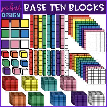 Base Ten Blocks Clipart {2D & 3D Bold}