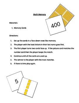 Base Ten Memory Card Game