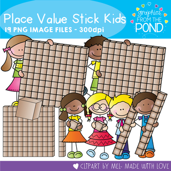 Base Ten Stick Kids - Clipart for Math and Teaching
