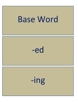 Base Word, -ed, -ing Owl Themed Word Sort