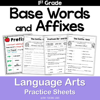 Base Words and Affixes Common Core Practice Sheets L.1.4b