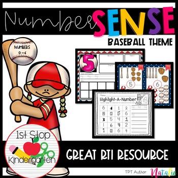 Baseball 0-6 Number Sense Math Centers/Worksheets