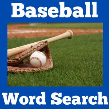 Baseball Theme | Baseball Activity | Baseball Word Search