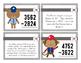 Baseball 4 Digit Subtraction Task Cards