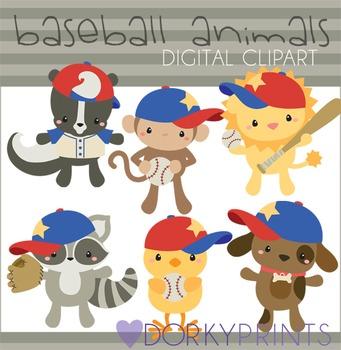Baseball Animals Digital Clip Art