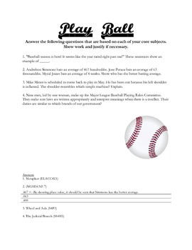 Baseball Based Fourth Grade Review Questions