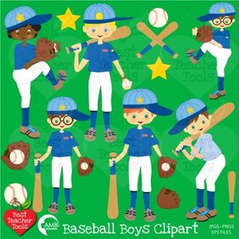 Baseball Clipart, Sports Clipart, Baseball Boys Clip Art, AMB-227