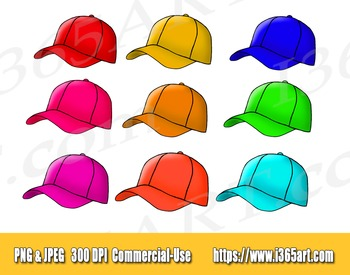 Baseball Caps Clipart, Graphics, Baseball Hat, Digital, Download