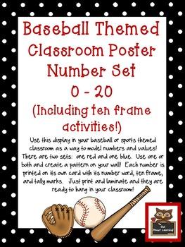 Baseball Classroom Numbers Poster Set w/Ten Frames, Activi