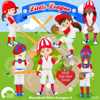 Baseball Clipart, Sports Clipart, Baseball Girl Clip Art,