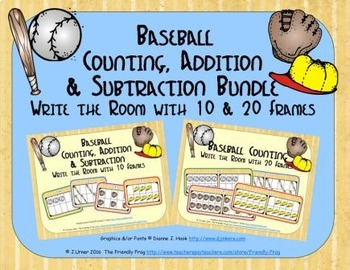 Baseball Count, Add & Subtract Bundle with 10 & 20 Frames