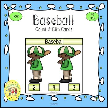 Baseball Count and Clip Sports Task Cards