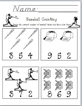 Baseball Counting and Number Recognition Worksheet
