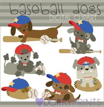 Baseball Dogs Digital Clip Art