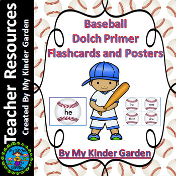 Baseball Dolch Primer Sight Word Flashcards and Posters