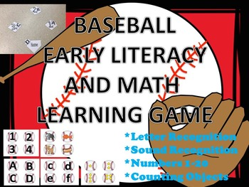 Baseball Letters, Sound and Number Recognition Flashcards