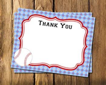 Baseball Flat Thank You Note Cards