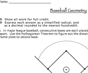Baseball Geometry Assessment (Midpoint & Distance Formulas