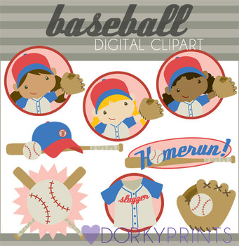 Baseball Girls Digital Clip Art