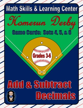 Baseball (Homerun Derby) Game Cards (Add & Subtract Decima