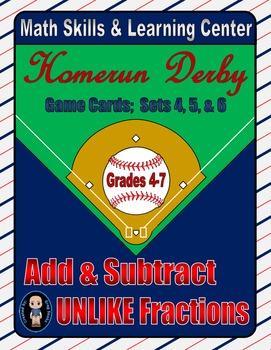 Baseball (Homerun Derby) Game Cards (Add & Subtract Unlike