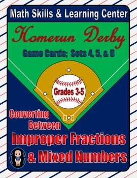 Baseball (Homerun Derby) Game Cards (Improper Fractions) S