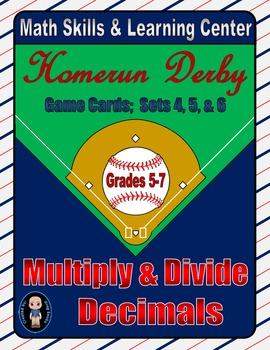 Baseball (Homerun Derby) Game Cards (Multiply & Divide Dec