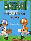 Baseball Kindergarten Literacy & Math Centers Common Core