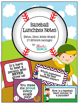 Baseball Lunchbox Notes, Jokes, and Bottle Wraps