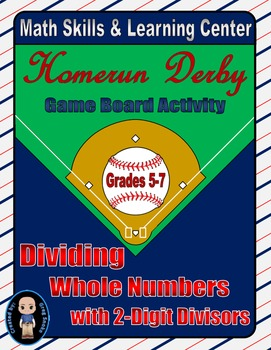 Baseball Math Skills & Learning Center (Division with 2-Di