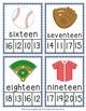 Baseball Number Words Clip Cards