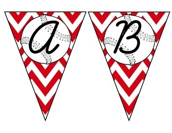 Baseball Pennant with Red Chevron Capital and Lower Case C