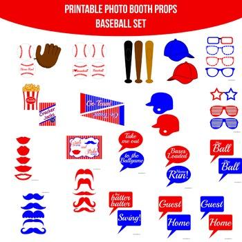 Baseball Printable Photo Booth Prop Set