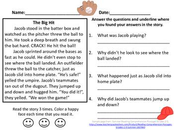 Baseball Reading Comprehension Passage Grades 2-3
