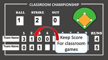 Baseball Scoreboard-PowerPoint (Keep score for classroom games)