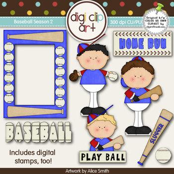 Baseball Season 2 Blue/Red -  Digi Clip Art/Digital Stamps