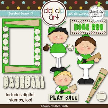 Baseball Season 3 Green/White -  Digi Clip Art/Digital Sta