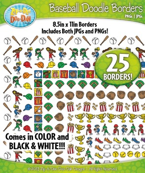 Baseball / Softball Doodle Frame Borders Set  — Includes 2