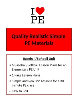 Baseball/Softball Unit - 6 Lesson Plans - Elementary PE
