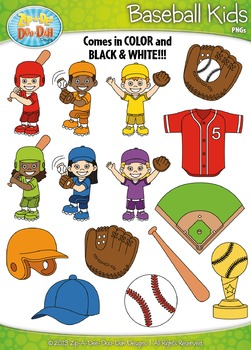 Baseball Sports Kid Characters Clipart Set Set — Includes