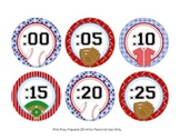 Baseball Theme Clock Number Labels