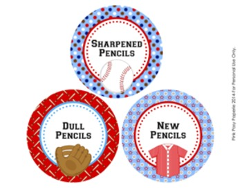 Baseball Theme Pencil Caddy Labels